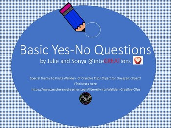 Basic Yes - No Questions, Dry Erase or Clip Card Activity