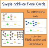 80+ - Simple addition - pictures sums - task cards  Btsdownunder