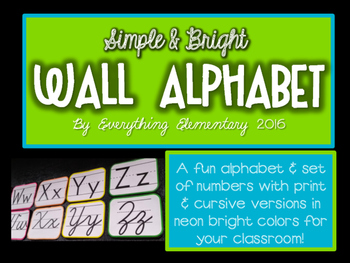 Simple & Bright Wall Alphabet and Numbers 0-9 Set
