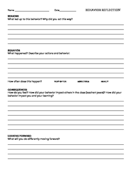 Simple and Clean Student Behavior Reflection Sheet
