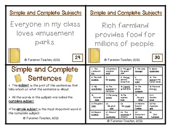 Simple and Complete Subject Task Cards