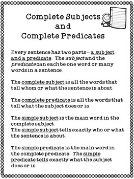 Simple and Complete Subjects and Predicates
