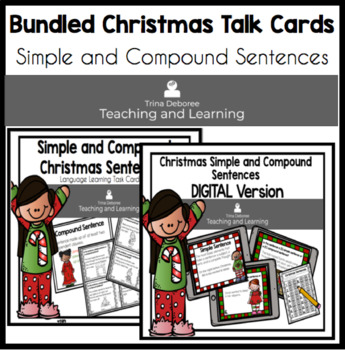 Simple and Compound Christmas Sentence Task Cards