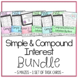 Simple and Compound Interest Activities Bundle (5 Mazes and 1 Set of Task Cards)