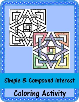 Simple and Compound Interest - Coloring Activity