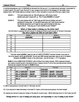 Simple and Compound Interest Financial Literacy Activities