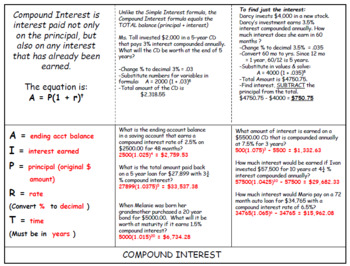 Compound Interest Foldable and Worksheet by Manipulating Math Minds