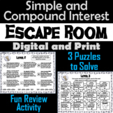 Simple and Compound Interest Game: Escape Room Math Activity