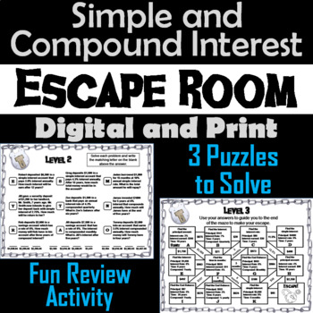 Simple and Compound Interest Game: Algebra Escape Room Math Activity