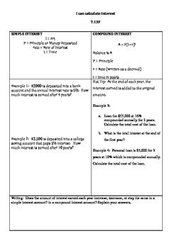 Simple and Compound Interest Graphic Organizer