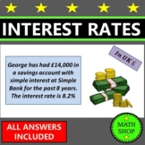 Simple and Compound Interest Questions (£) - Percentages