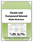 Simple and Compound Interest - Riddle Worksheet