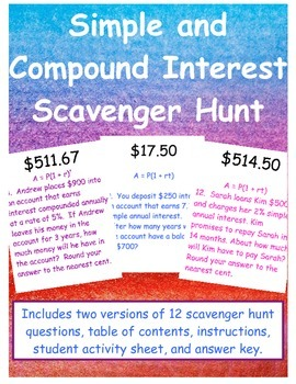 Simple and Compound Interest Scavenger Hunt