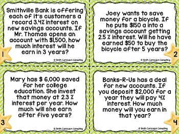 Simple and Compound Interest Task Cards- Color and Black and White Versions