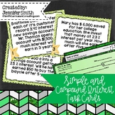 Simple and Compound Interest Task Cards- Color and Black a