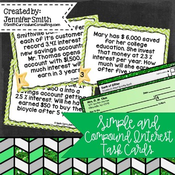 """Simple and Compound Interest Task Cards- Color and """"Save Y"""