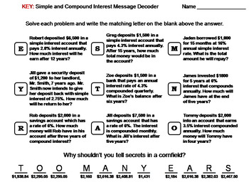 Simple and Compound Interest Worksheet: Math Message Decoder