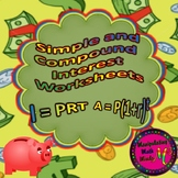Simple and Compound Interest Worksheets - distance learning