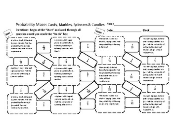 simple and compound probability maze by yinzer teacher tpt. Black Bedroom Furniture Sets. Home Design Ideas