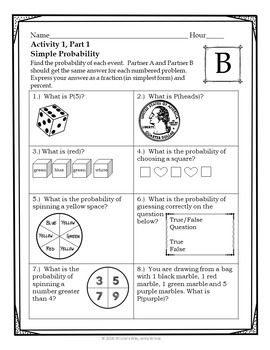 Simple and Compound Probability Partner Activities