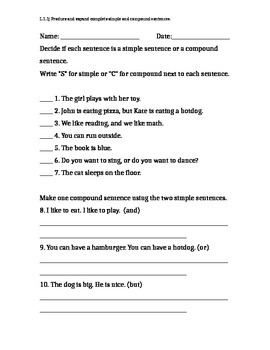Simple and Compound Sentence Assessment