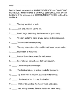 Simple and Compound Sentence Quiz