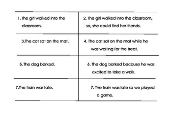 Simple and Compound Sentence Sort