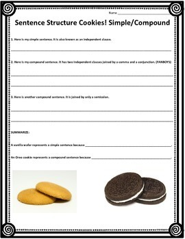 Sentence Structure Activity - Simple, Compound, Complex, and Compound-Complex