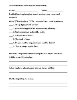 Simple and Compound Sentences Assessment, Test, or Quiz - 3rd Grade
