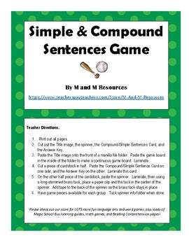 Simple and Compound Sentences Game (with Conjunctions)