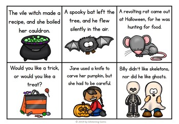 Simple and Compound Sentences - Halloween Literacy Center