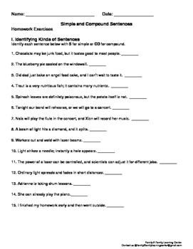Simple and Compound Sentences Homework