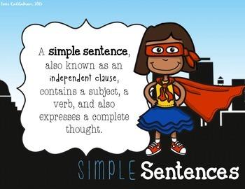 Simple and Compound Sentences Lesson Bundle: Games, Posters, & Exit Ticket