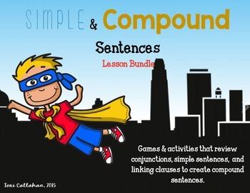 Simple and Compound Sentences Lesson Bundle: Games, Poster