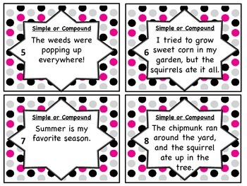 Simple and Compound Sentences Moveable Review