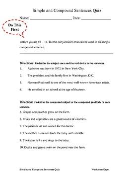 Simple and Compound Sentences Quiz