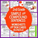Simple & Compound Sentences–12 Sentence Worksheets, 5 Activities, 38 Task Cards