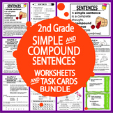Simple & Compound Sentences Worksheets+Task Cards–2nd Grade Sentence Activities