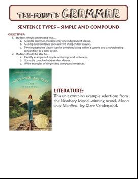 Simple and Compound Sentences: Ten-Minute Grammar Unit #12