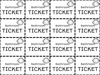 Printable Bathroom Tickets by Journey of a Future Teacher with Hilary