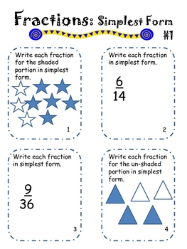 Simple and Equivalent Fractions Packet