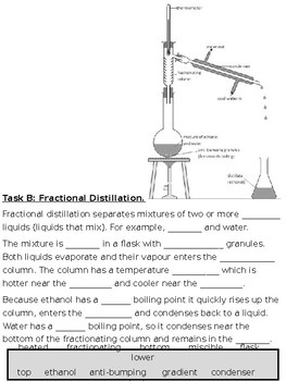 simple and fractional distillation cloze text worksheet gcse  originaljpg