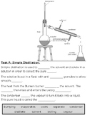 Simple and Fractional Distillation Cloze Text Worksheet GC