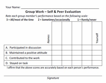 Simple and Quick Group Work Evaluation Form