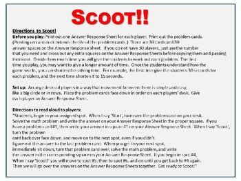 Simple and Very Easy Algebra Scoot! Game - Gate, Review, Activity, One Variable
