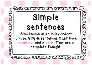 Simple and compound sentences charts and worksheets