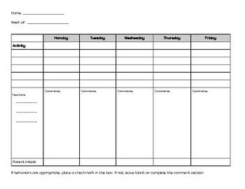 Behavior data sheet/Parent communication