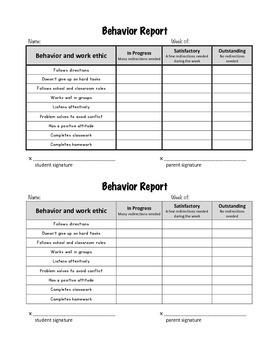 Simple behavior report