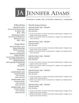 Simple Clean 3 In 1 Word Resume By Inkpower