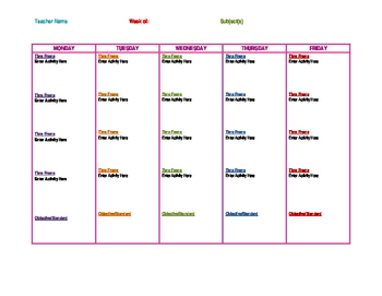 Simple editable weekly lesson planner